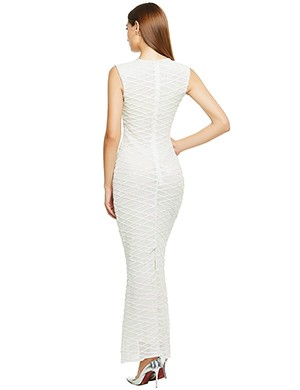 Daring White Sequins Geometric Pattern Floor Length Gown At Great Prices‎