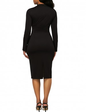 Pullover Black Long Sleeve British Style Bodycon Dress Super Faddish