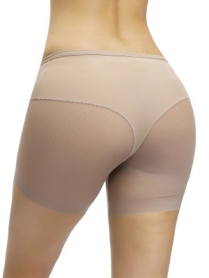 Ultra Apricot Butt Lifter Sheer Mesh Mid-Rise Panty Stretchy