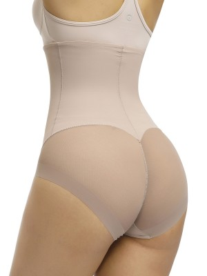 Stylish Apricot Butt Enhancer 3 Rows Hooks Sheer Mesh Garment