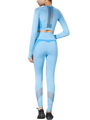 Incredible Blue Long Sleeve Thumbhole Sweat Suit Full Length Women Outfit