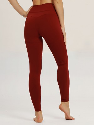 Essential Wine Red Yoga Leggings High Rise Solid Color Loose