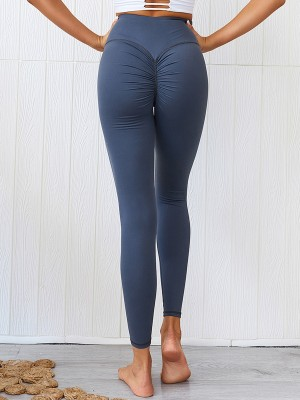 Blue High Rise Full Length Running Leggings Feminine Confidence