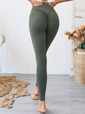 Enticing Green Solid Color Yoga Leggings Ankle Length For Girl