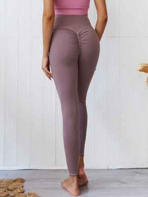 Fit Purple Moisture-Wicking Yoga Leggings Pleated Distinctive Look
