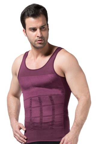 Flawless Claret Red Firm Chest Hide Belly Men Tummy Shaper
