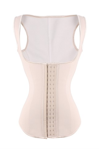 Luxurious Nude Hook Eye 9 Steel Boned Latex Waist Trainer