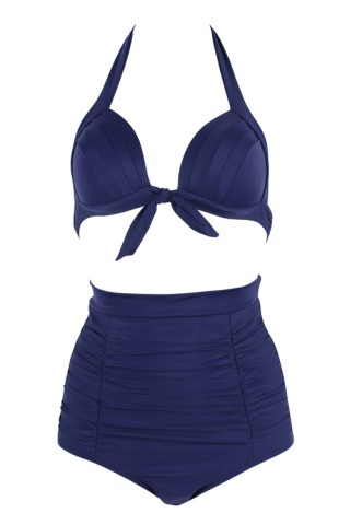 Elegant Two Piece Padded Plus Size High Waisted Swim Suits
