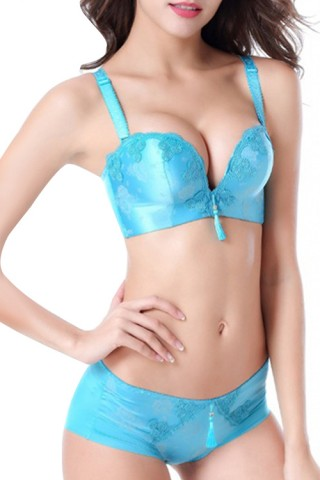 Fatal Attraction Blue Lace Support Bras Adjustable Straps