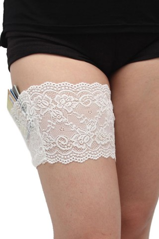 Clever Sheer White Lace Anti-Chafing Thigh Holster Bands