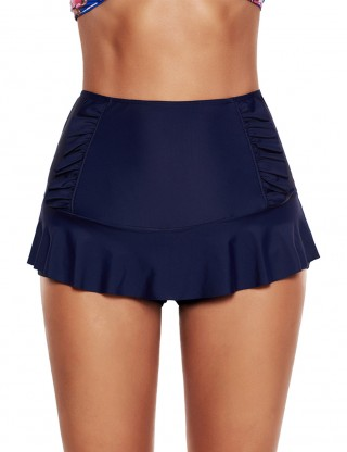 Plus Navy Blue High Waist Swim Skirt Ruched Side Attach Layer