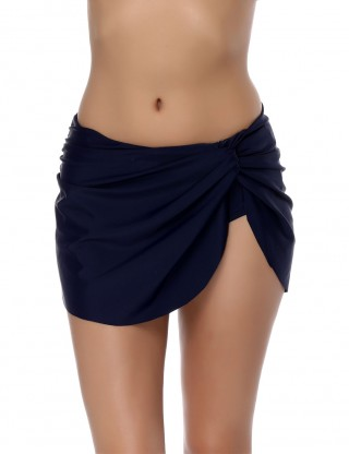 Swimming Dark Blue Twisted Ruched Pant Skirt Full Coverage