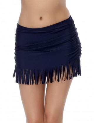 Eye-Catching Dark Blue Swing Tassels Hem Swimming Bottom