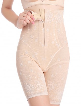 Nude Plus Size Postpartum Recovery Briefs Front Zipper Hooks
