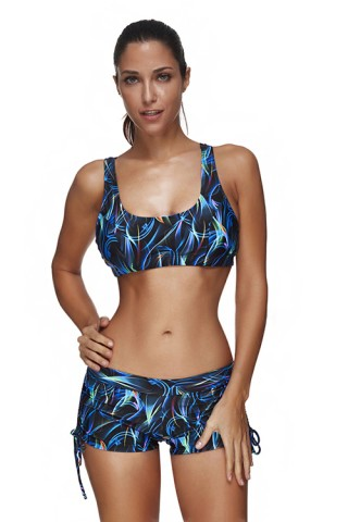 Shop Sexy SwimwearMulticolored Printing Plus Crop Top Boy Short Bathing Suit
