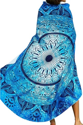 Stunning Summer Breeze Blue Round Printed Beach Towel