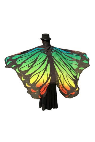 Fantastic Butterfly Wing Pattern Chiffon Colorful Cloak