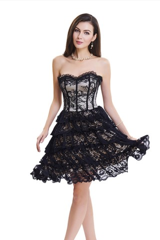 Slinky Lace Trim Ruffle Push Up Corset Dress Tummy Control