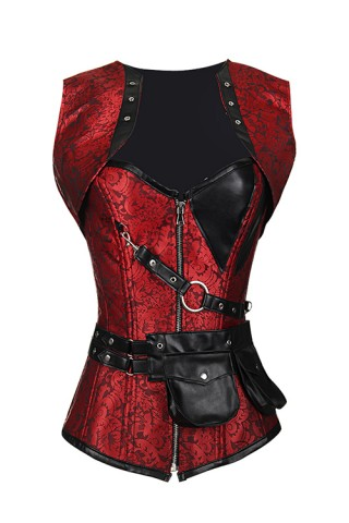 Luxury Red 24 Steel Bones Jacquard Corset Leather Pocket
