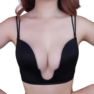 U-Shape Underwire Traceless Black Brassiere Adjustable Straps