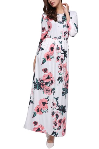 Vintage Floral Print Full Sleeve Maxi Dress O-Neck