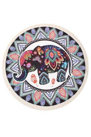 Unique Ancient Elephant Round Beach Towel With Fringe