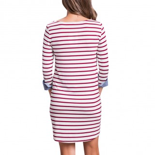 Adorable Red Full Sleeves Striped Mini Dress Round Neck