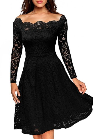 Elegant Vintage Black Evening Flower Lace Dress Sleeves