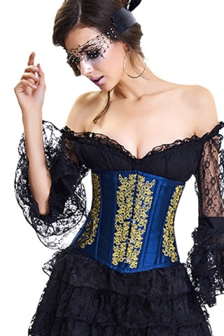 Retro 10 Plastic Boned Hook Eye Embroidered Underbust Corset