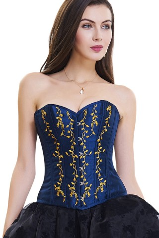 Flawless Blue 10 Plastic Bones Back Lace Up Overbust Corset