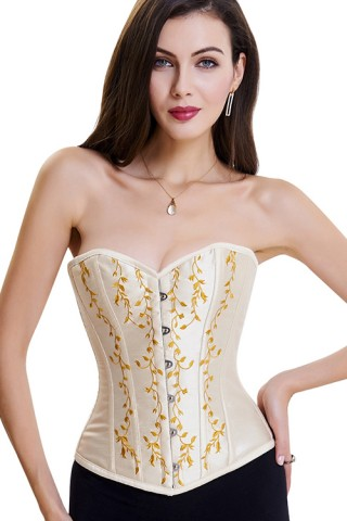 Apricot 10 Plastic Bones Lace-Up Back Retro Corset Jacquard
