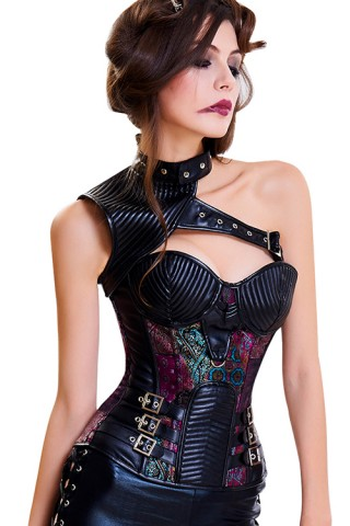 13 Plastic Bones One Shoulder Buckled Ethnic Overbust Corset