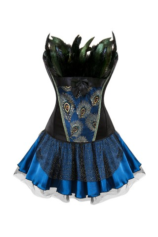 Gorgeous Satin Bow Large Embroidered Feathers Corset Outfit