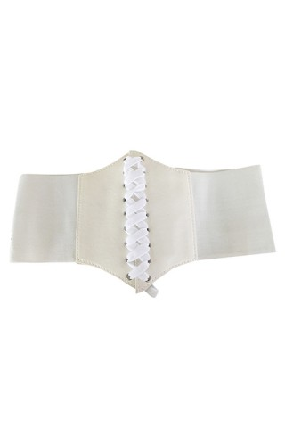 Flattering White Sculpt Waist Corset Belt Lace-Up Fastening