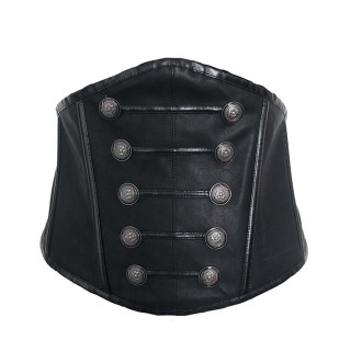 Black Elasticated Faux Leather Waistband With Hardwares Decor