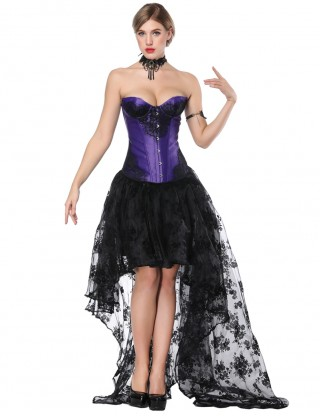 Renaissance Purple Knotted Lace Patchwork Corset Skirt Set Sleek