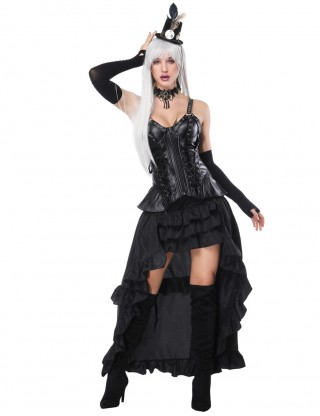 Antique Black Thick Straps Mental Hole Corset And Layered Skirt