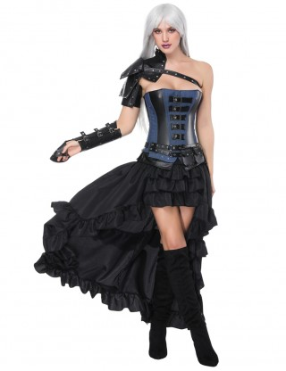 Romance Black Mental Decor Layered Five Pieces Corset Sets With Belt