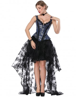 Ravishing Tie Back Blue Wide Strap Corset Lace Asymmetric Skirt