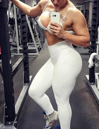 Essential White High Waist Gym Tights Ruched Panel Workout