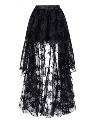 Fabulous Fit Black Floral Pattern Skirt Elastic Waist Leisure