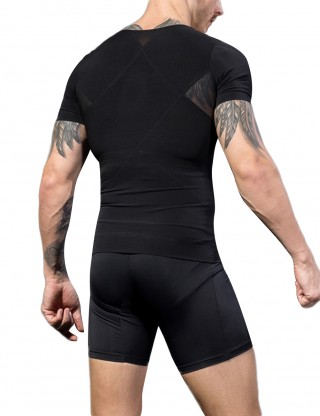 Zipper Closure Mens Black Shaper Top Mesh Patchwork Sleek Smoother