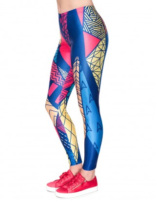 Stretchy Digtal Print Cropped Tights Mid Rise Online
