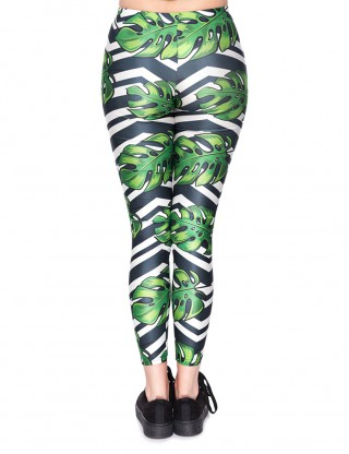 Fad Green Mid Rise Palm Print Workout Legging Feminine Trend