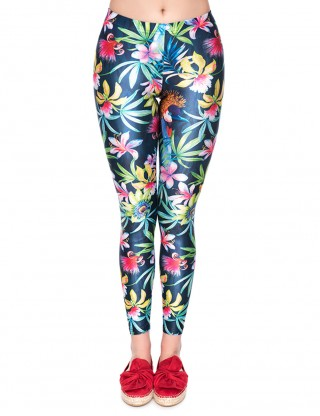 Stylish Floral Print Green Yoga Pants 3D Technology For Camping