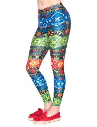 Sensational Colorful Print Yoga Pants Mid Waist Cheap Online Sale