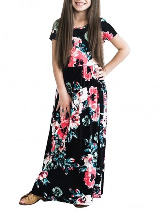 Leisure Black Floral Print Girls Dress Floor Length Trend