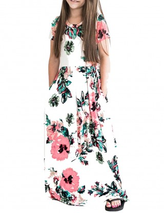 Summary White Print Girls Maxi Dress With Pockets Elastic Material
