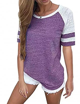 Homelike Purple Large Round Neckline Blouses Short Sleeves Online
