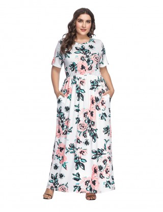 Fitted White Flower Pattern Large Maxi Dress Short Sleeves Comfort Fashion